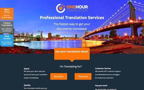Screenshot of Landing Page onehourtranslation.com captured April 15, 2016