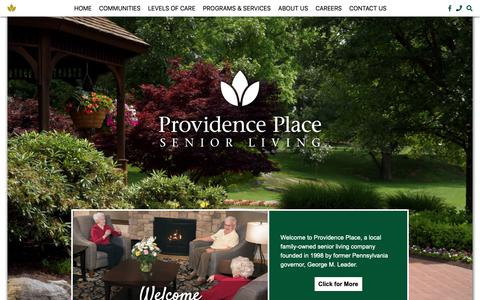 Screenshot of Home Page providence-place.com - Providence Place Retirement Community - captured Oct. 30, 2018