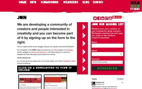 Screenshot of Signup Page wildseedstudios.com - Join Us | Wildseed Studios | Wildseed Studios - captured Oct. 26, 2014