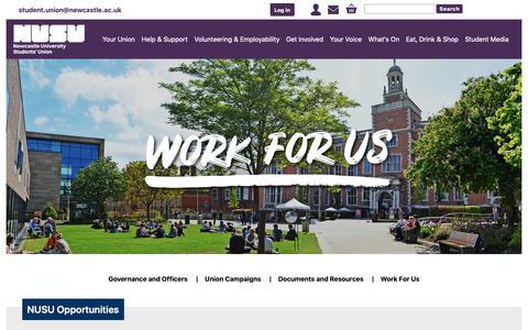 Screenshot of Jobs Page nusu.co.uk - Work For Us - captured Nov. 15, 2018