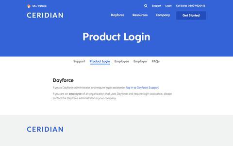 Screenshot of Login Page ceridian.com - Login Links for Ceridian HR Payroll Applications - captured Jan. 8, 2020