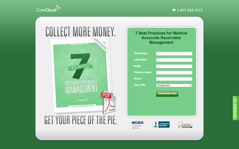 Screenshot of Landing Page carecloud.com - Medical Billing – Accounts Receivable Best Practices White Paper   CareCloud - captured Sept. 27, 2016