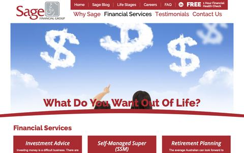 Screenshot of Services Page sagefinancialgroup.com.au - Financial Services | Sage Financial Group - captured Oct. 1, 2018