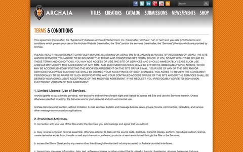 Screenshot of Terms Page archaia.com - Terms & Conditions | Archaia Entertainment - captured Sept. 22, 2014
