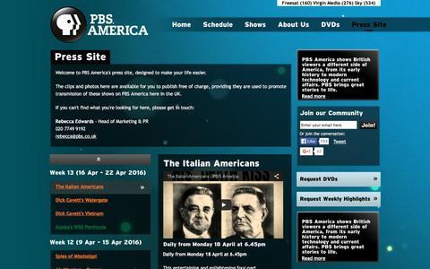 Screenshot of Press Page pbsamerica.co.uk - Press Site | PBS America - captured March 17, 2016