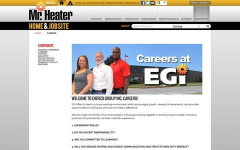Screenshot of Jobs Page mrheater.com - Careers - captured June 23, 2017