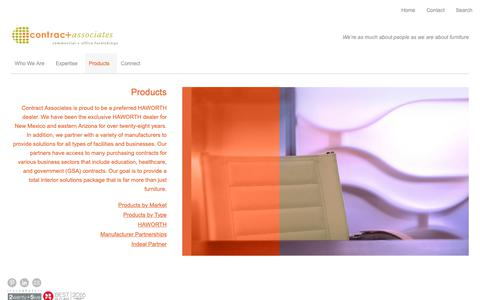 Screenshot of Products Page contractassociatesnm.com - Products - captured Sept. 29, 2018