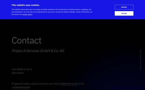 Screenshot of Contact Page project-a.com - Contact | Project A - captured Jan. 20, 2020