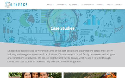 Screenshot of Case Studies Page trustlineage.com - Document Management Case Studies & Company Testimonials | Lineage - captured Sept. 25, 2018