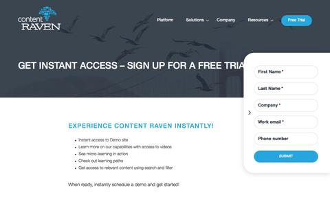 Screenshot of Trial Page contentraven.com - Request a demo New - Content Raven - captured Jan. 20, 2018