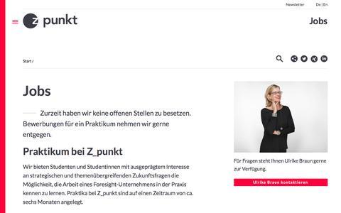 Screenshot of Jobs Page z-punkt.de - Jobs                     Z_punkt - captured Feb. 17, 2016
