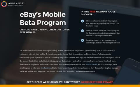 Screenshot of Landing Page applause.com - Webinar: eBay's Mobile Beta Program: Critical To Delivering Great Customer Experiences - captured Aug. 12, 2016