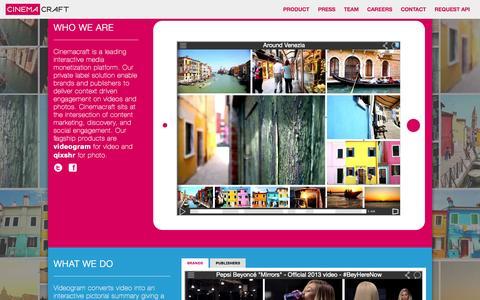Screenshot of Home Page cinemacraft.tv - Cinemacraft - captured Sept. 13, 2014