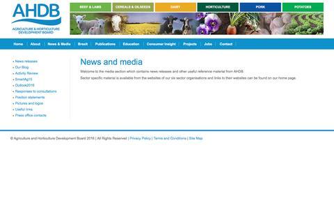 Screenshot of Press Page ahdb.org.uk - AHDB News and Media - captured Nov. 19, 2016