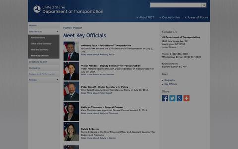 Screenshot of Team Page dot.gov - Meet Key Officials | Department of Transportation - captured Oct. 3, 2014