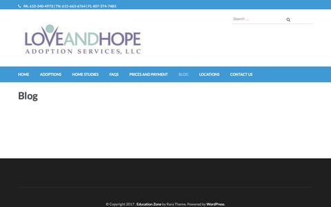 Screenshot of Blog loveandhopeadoptions.org - Blog - - captured Sept. 11, 2017