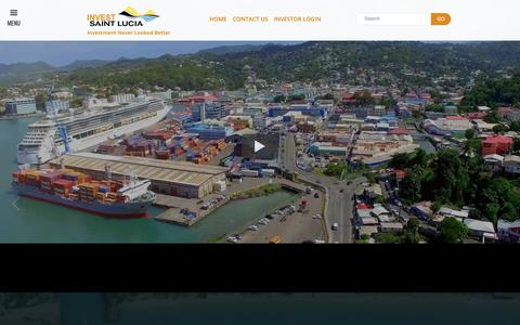 Screenshot of Home Page investstlucia.com - Home       Invest Saint Lucia - captured Oct. 12, 2018