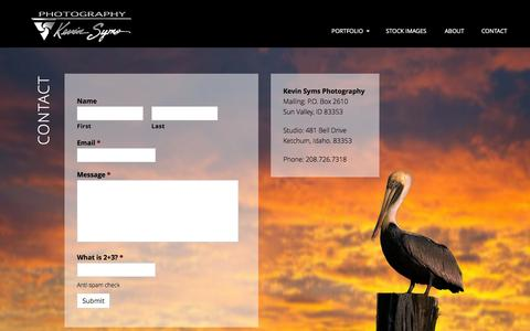 Screenshot of Contact Page kevinsyms.com - Contact - Kevin Syms Photography - captured June 25, 2016