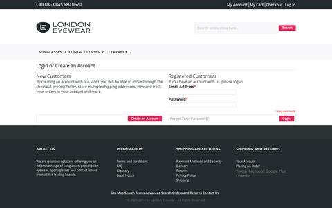 Screenshot of Login Page london-eyewear.co.uk - Customer Login - captured Sept. 30, 2014
