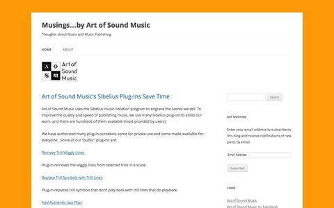 Screenshot of Blog artofsoundmusic.com - Musings...by Art of Sound Music - Thoughts about Music and Music Publishing - captured Sept. 30, 2014