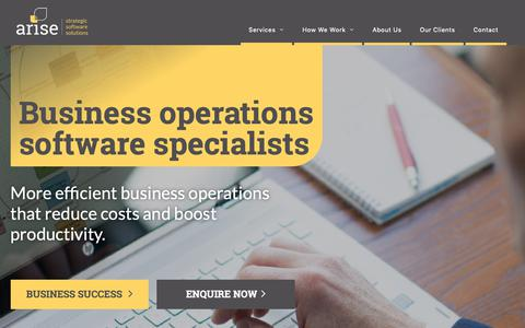 Screenshot of Home Page arisesolutions.co.nz - Strategic Business Software Solutions | Arise Business Solutions Ltd. - captured Oct. 4, 2018