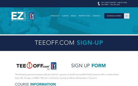 Screenshot of Signup Page ezlinksgolf.com - Golf Course Sign Up For TeeOff.com by PGA TOUR | EZLinks Golf - captured July 12, 2017
