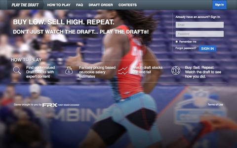 Screenshot of Home Page playthedraft.com - Play the Draft - captured Oct. 6, 2014