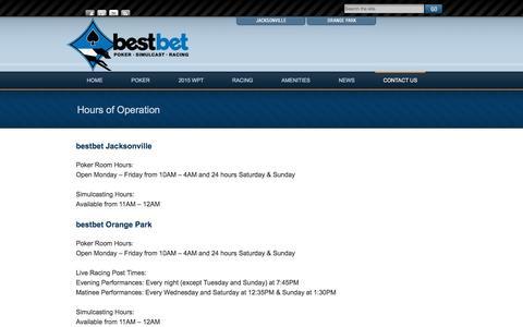 Screenshot of Hours Page bestbetjax.com - Hours of Operation | bestbet - captured Jan. 14, 2016