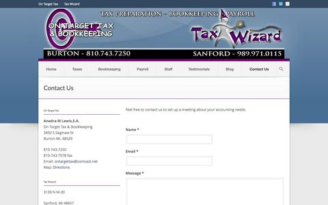 Screenshot of Contact Page ontargettax.com - Contact Us | CPA, Enrolled Agents, On Target Tax & Bookkeeping, Flint and Sanford, Michigan - captured Oct. 26, 2014