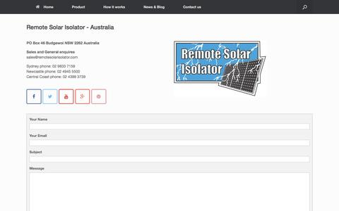 Screenshot of Contact Page remotesolarisolator.com - Contact Us   - captured Aug. 13, 2016