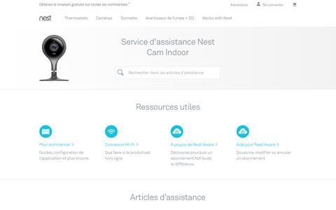 Screenshot of Support Page nest.com - Service d'assistance Nest Cam Indoor   Nest - captured Jan. 14, 2018