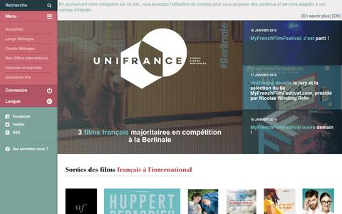 Screenshot of Home Page unifrance.org - uniFrance Films, promouvoir le cinéma français dans le monde - uniFrance Films - captured Jan. 21, 2016