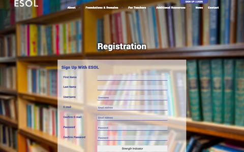 Screenshot of Signup Page esolinhighered.org - Registration | ESOL In Higher Ed - captured Oct. 28, 2014