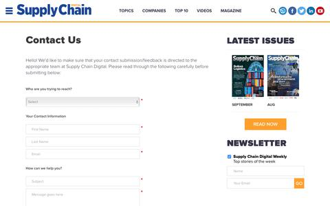 Screenshot of Contact Page supplychaindigital.com - Contact Us | Supply Chain Digital - Supply Chain News, Magazine and Website - captured Sept. 23, 2018