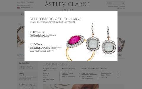 Screenshot of Support Page astleyclarke.com - Customer Service - captured Sept. 13, 2014