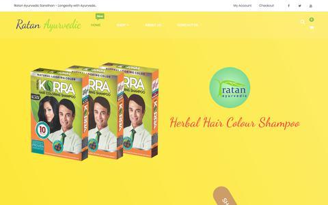 Screenshot of Home Page ratanayurvedic.com - Ratan Ayurvedic Sansthan – Longevity Through Ayurveda - captured Oct. 23, 2019