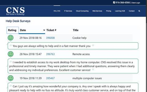Screenshot of Testimonials Page cns-service.com - Read CNS testimonials and reviews - captured Aug. 14, 2019