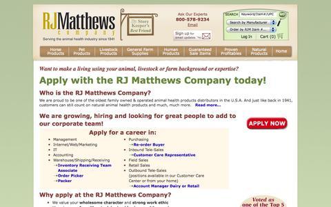 Screenshot of Jobs Page rjmatthews.com - Careers - captured Oct. 7, 2014