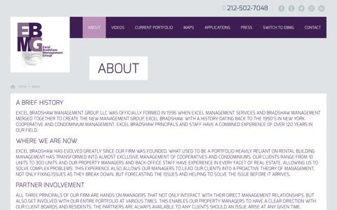 Screenshot of About Page ebmg.com - About | New York City Cooperative and Condominium Property Management - captured Oct. 3, 2014