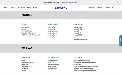 Screenshot of Site Map Page samsung.com - Sitemap | Samsung Australia - captured Oct. 5, 2017