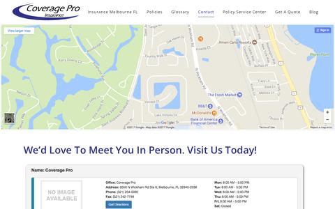 Screenshot of Locations Page coveragepro.com - Locations - Coverage Pro Insurance - captured Sept. 6, 2017