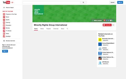 Screenshot of YouTube Page youtube.com - Minority Rights Group International  - YouTube - captured Oct. 25, 2014