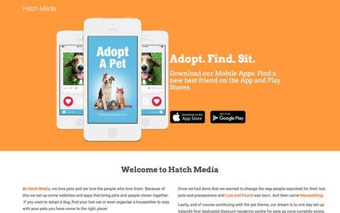 Screenshot of Home Page hatchmedia.ie - Hatch Media | Adopt. Find. Sit - captured July 19, 2017