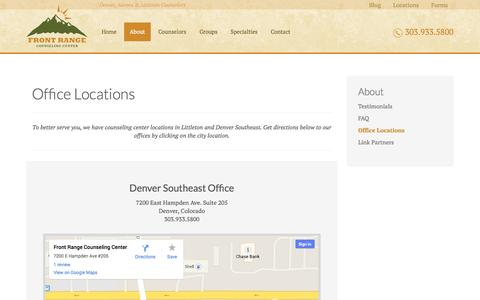 Screenshot of Locations Page frontrangecounselingcenter.com - Littleton & Denver Counseling Office Locations        Front Range Counseling Center - captured Oct. 29, 2014