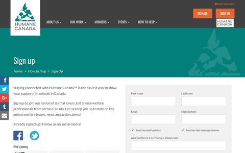 Screenshot of Signup Page humanecanada.ca - Sign up - Humane Canada - captured Sept. 26, 2018