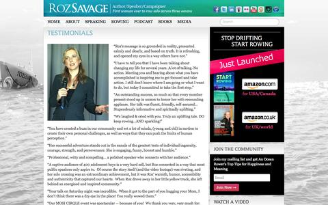 Screenshot of Testimonials Page rozsavage.com - Testimonials   Roz Savage, Ocean Rower - captured Oct. 7, 2014