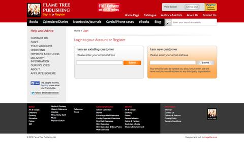 Screenshot of Signup Page flametreepublishing.com - Customer Login - Flame Tree Publishing - captured Oct. 6, 2014