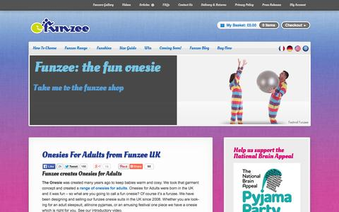 Screenshot of Home Page funzee.co.uk - Onesies For Adults from Funzee UK - Funzee - captured Oct. 6, 2014