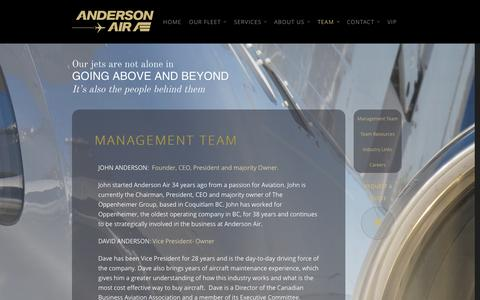 Screenshot of Team Page andersonair.ca - Management Team | Anderson Air - captured Oct. 4, 2014