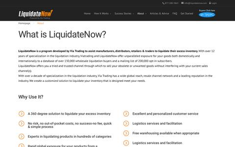 Screenshot of About Page liquidatenow.com - About Via Trading, Inventory Liquidator & Closeout Supplier - captured March 16, 2016